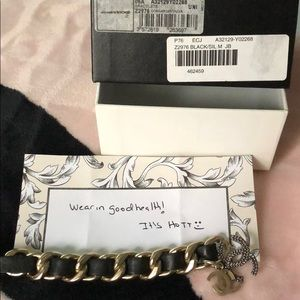 Chanel leather bracelet with hanging CC